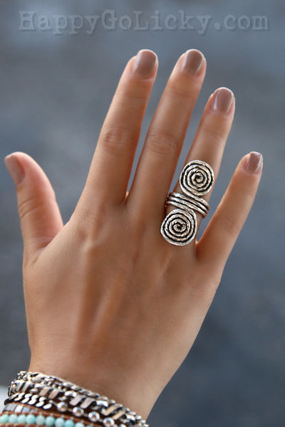 Double Spiral Rope Ring HappyGoLicky Jewelry Sterling Silver Ring