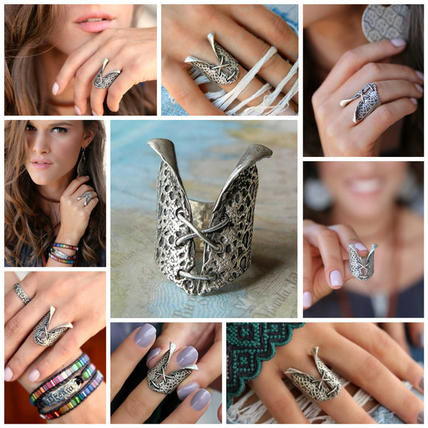 Lace Sterling Silver Wedding Rings - HappyGoLicky Jewelry