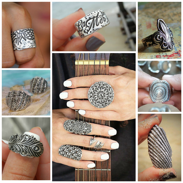 Bohemian Jewelry Collection Sterling Silver Rings by HappyGoLicky