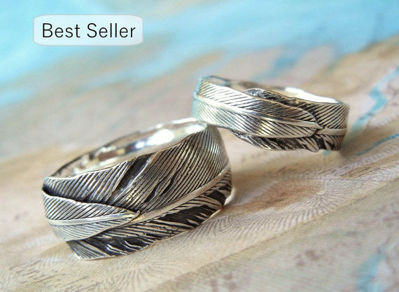 Silver Feather Wedding Bands - HappyGoLicky Jewelry
