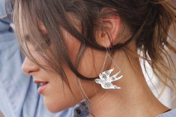 Swallow Bird Chandalier Earrings - HappyGoLicky Jewelry