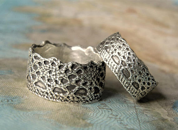 Lace Sterling Silver Wedding Rings