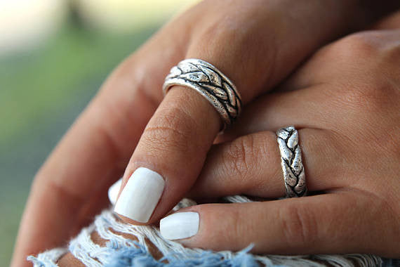 Braided Band Wedding Rings - HappyGoLicky Jewelry
