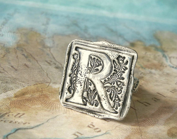 Monogram Initial Letter Wax Seal Ring - HappyGoLicky Jewelry