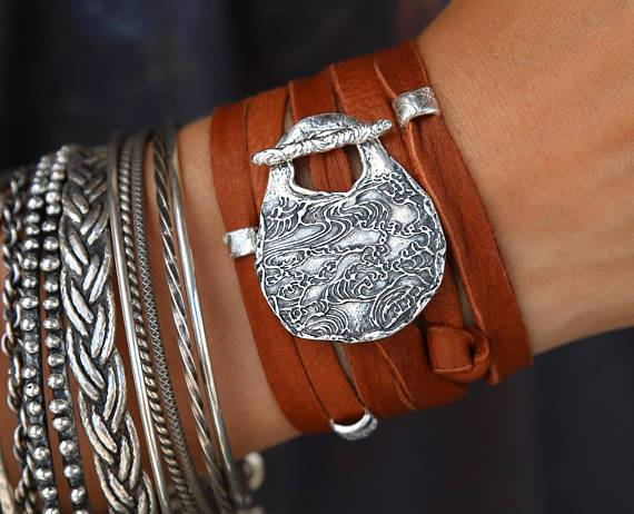 Bohemian Leather Wrap Bracelet - HappyGoLicky Jewelry
