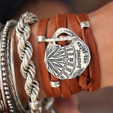 Enjoy the Journey Leather Wrap Bracelet