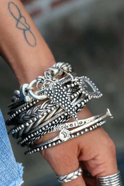 Chunky Sterling Silver Rope Bracelet with Heart Charm