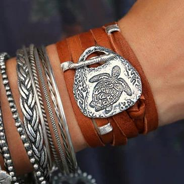 Boho Jewelry Leather Wrap Bracelet - HappyGoLicky Jewelry