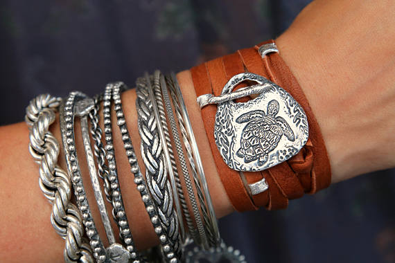 Bohemian 5x Leather Wrap Bracelet - HappyGoLicky Jewelry
