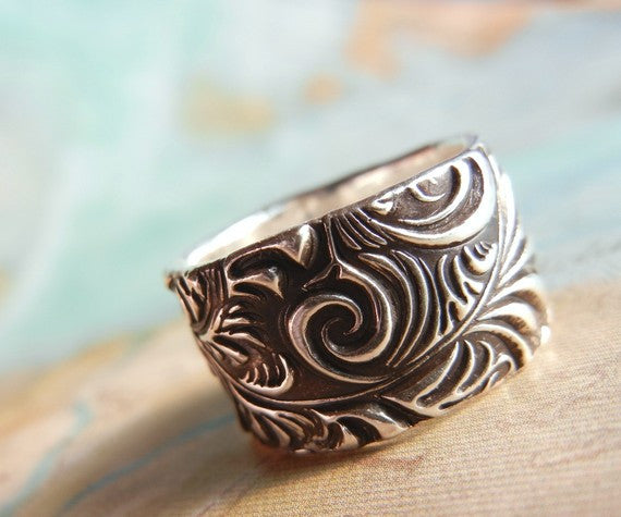 Vintage Rustic Sterling Silver Ring - HappyGoLicky Jewelry
