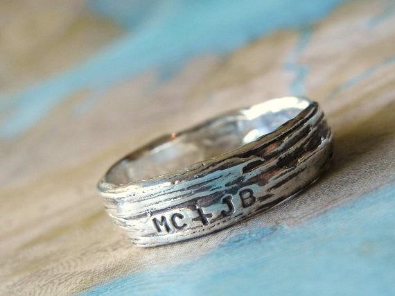 Rustic Bark Sterling Silver Ring - HappyGoLicky Jewelry