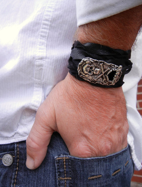Men's Skull Belt Buckle Bracelet - HappyGoLicky Jewelry