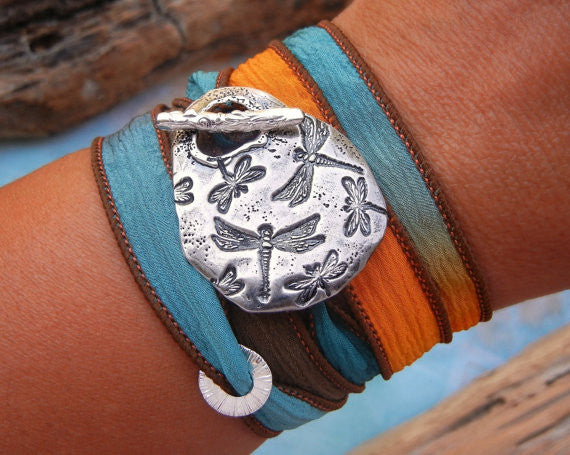 Dragonflies Silk Wrap Bracelet - HappyGoLicky Jewelry