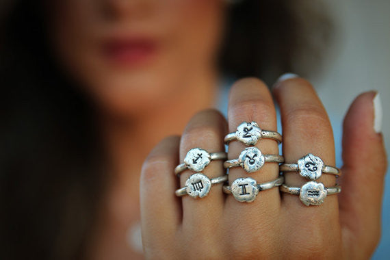 Zodiac Sign Sterling Silver Ring