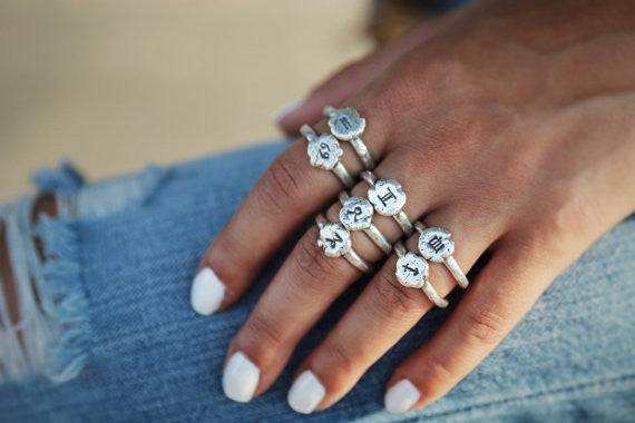 Zodiac Sign Sterling Silver Ring - HappyGoLicky Jewelry