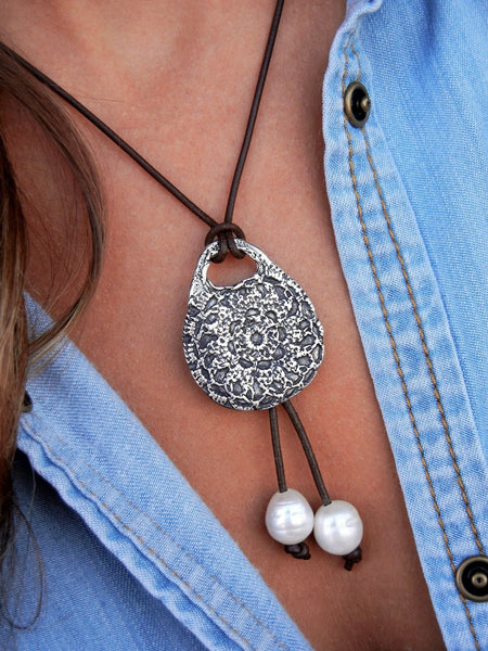 Boho Crochet Leather & Pearl Necklace - HappyGoLicky Jewelry