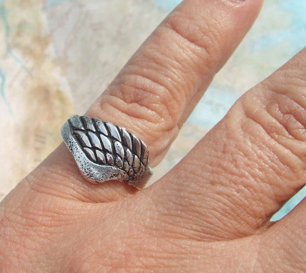 Sterling Silver Angel Wing Ring - HappyGoLicky Jewelry