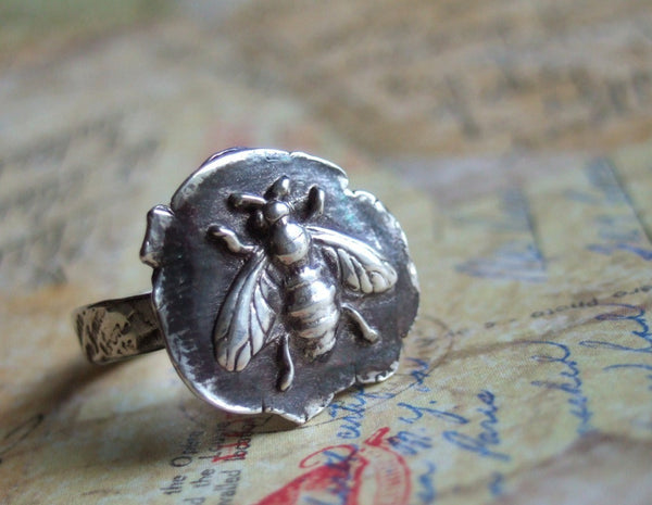 Honey Bee Sterling Silver Ring - HappyGoLicky Jewelry