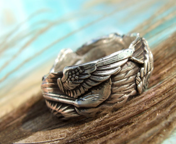 Angel Wing Silver Ring - HappyGoLicky Jewelry