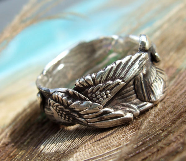 Angel Wings Handmade Sterling Silver Ring - HappyGoLicky Jewelry