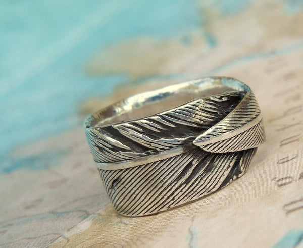 Men's Silver Feather Ring - HappyGoLicky Jewelry