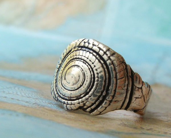 Nautical Sterling Silver Seashell Ring - HappyGoLicky Jewelry
