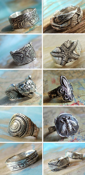 Nautical Ocean Waves Ring - HappyGoLicky Jewelry