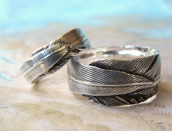 Silver Feather Wedding Bands