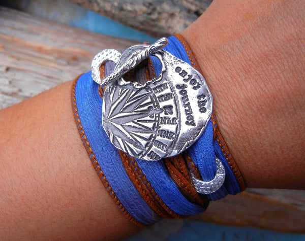 Compass STERLING Silver Silk Wrap Bracelet - HappyGoLicky Jewelry