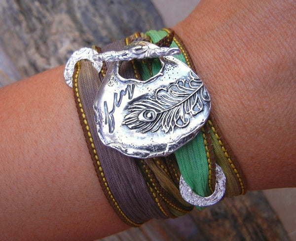 Peacock Silk Wrap Bracelet - HappyGoLicky Jewelry