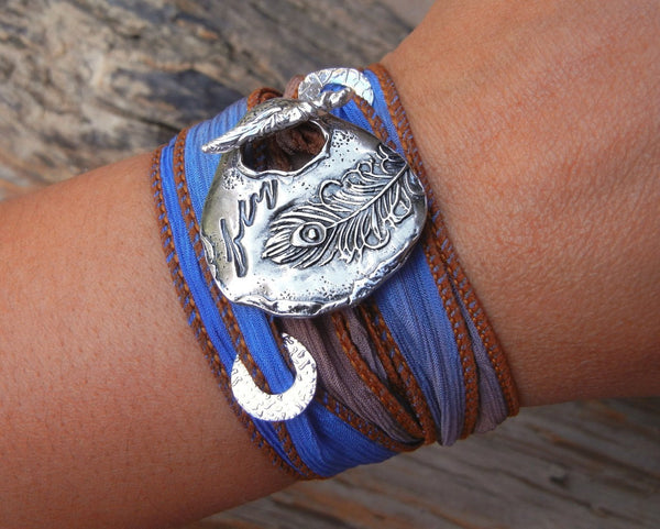 Peacock Fly Silk Wrap Bracelet