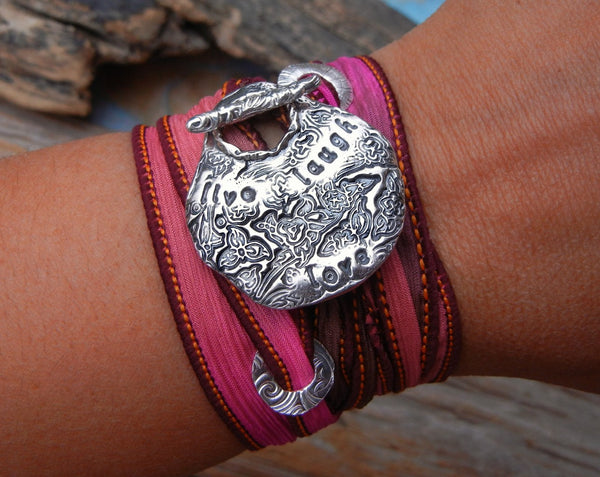Live Laugh Love Silk Wrap Bracelet - HappyGoLicky Jewelry