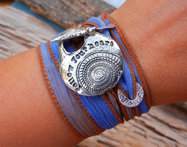 Follow Your Heart Silk Wrap Bracelet - HappyGoLicky Jewelry