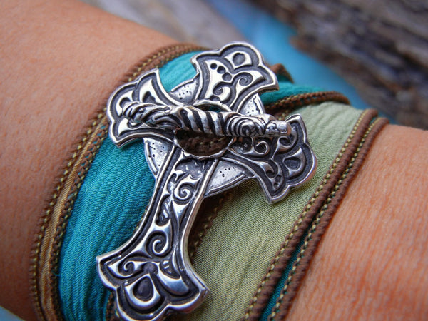 Sideways Cross Wrap Bracelet - HappyGoLicky Jewelry