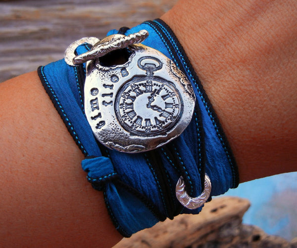Steampunk Silk Wrap Bracelet - HappyGoLicky Jewelry