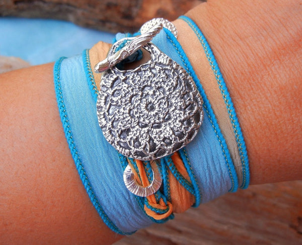 Boho Silk Wrap Bracelet - HappyGoLicky Jewelry