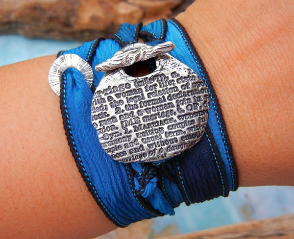 Marriage Definition Silk Wrap Bracelet - HappyGoLicky Jewelry