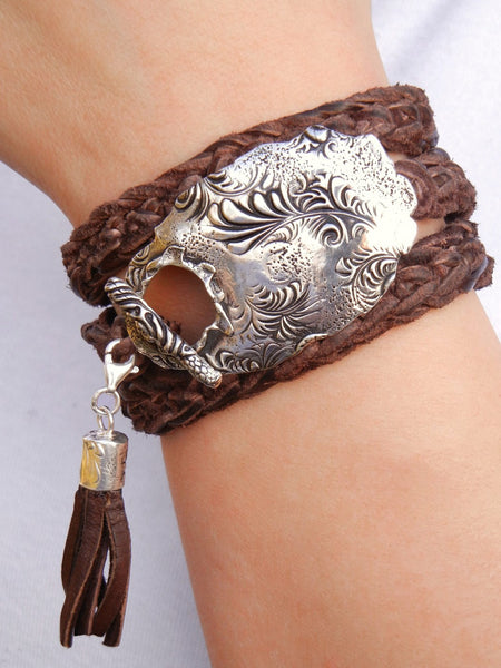 Floral Boho Leather Wrap Bracelet - HappyGoLicky Jewelry