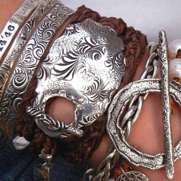 Floral Boho Leather Wrap Bracelet