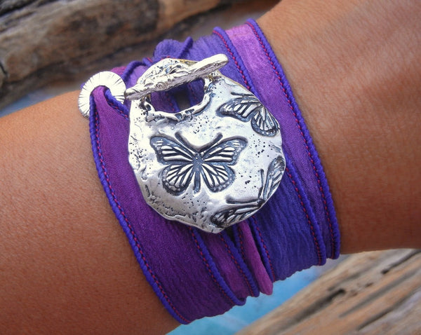 Butterfly Silk Wrap Bracelet - HappyGoLicky Jewelry