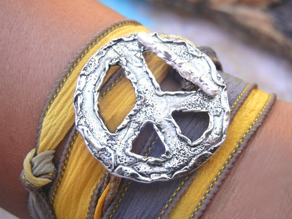 Peace Sign Wrap Bracelet