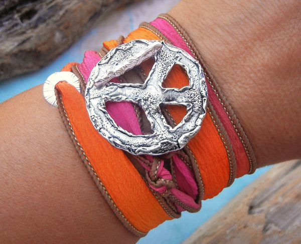 Peace Sign Wrap Bracelet - HappyGoLicky Jewelry