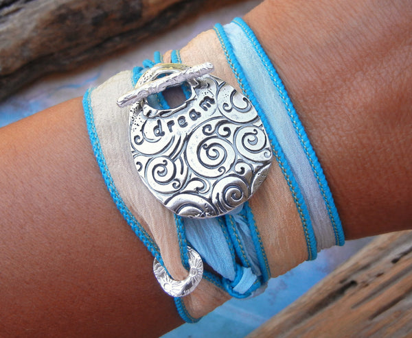 DREAM Yoga Silk Wrap Bracelet - HappyGoLicky Jewelry