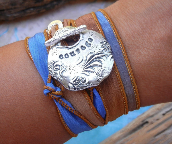 Courage Sterling Silver Bracelet - HappyGoLicky Jewelry