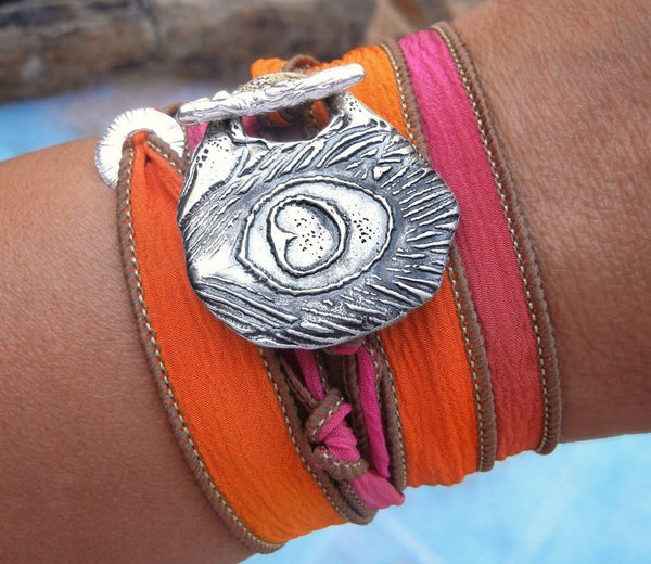 Hippie Jewelry Silk Wrap Bracelet - HappyGoLicky Jewelry