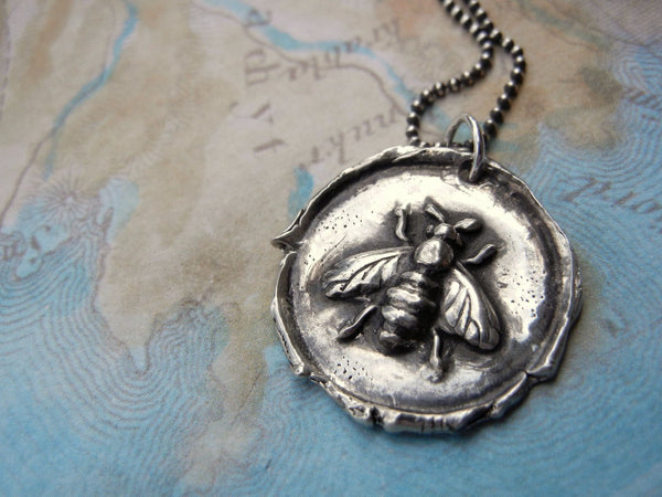 Honey Bee Wax Seal Necklace - HappyGoLicky Jewelry