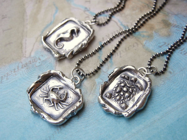Crab Wax Seal Necklace