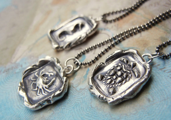 Crab Wax Seal Necklace - HappyGoLicky Jewelry
