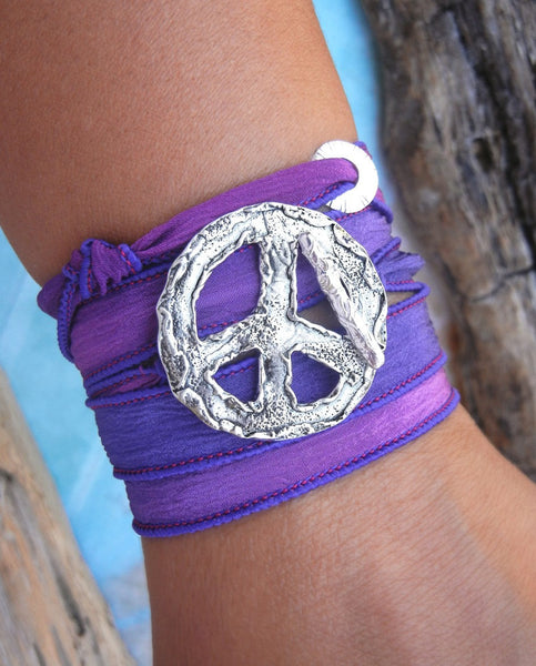 Peace Sign Silk Wrap Bracelet - HappyGoLicky Jewelry