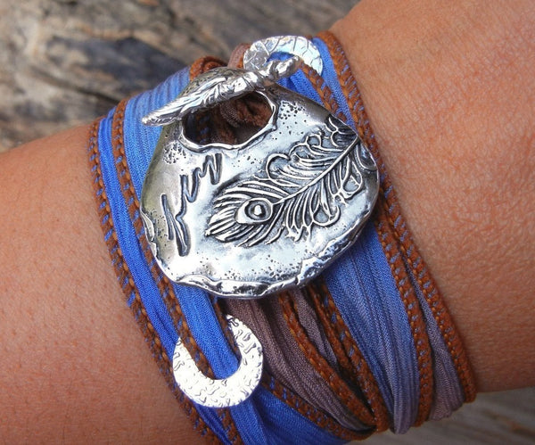 Peacock Silk Wrap Bracelet